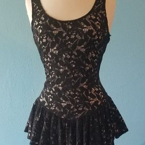Large Black Lace Peplum Betsey Johnson Dress